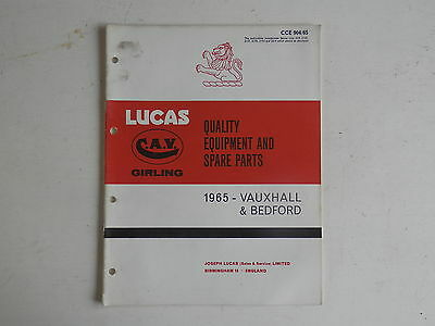 LUCAS Parts List 1965 VAUXHALL BEDFORD cars and commercials