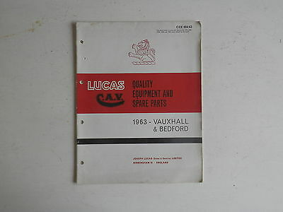 LUCAS Parts List 1963 VAUXHALL BEDFORD cars and commercials