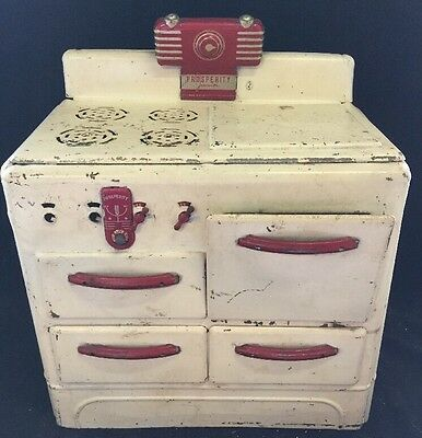 Vintage Child's Quality Metal Prosperity Junior Stove Play Pretend Kitchen Doll