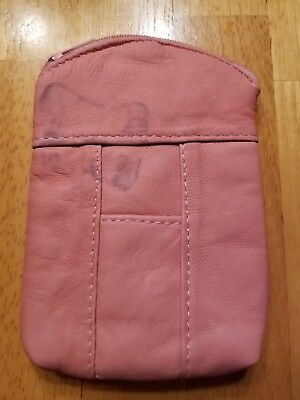 Eclipse Lambskin Leather Pink 100's Cigarette Zip Case Coin Purse Card Holder