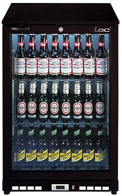 LEC Single Door Back Bar Cooler  with LED Lighting. Black 150Ltr BC6007K