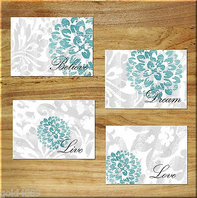 Gray + Teal Wall Art Prints Bedroom Bathroom Home Decor Floral Rustic/Distressed