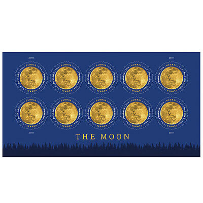 USPS New The Moon Global Forever International rate stamp pane of 10