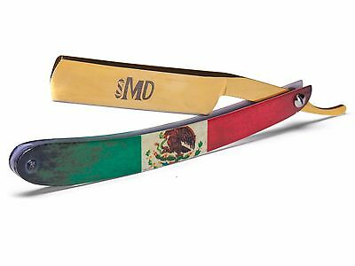 ~SHAVE READY~ MD Barber Straight Razor - Mexico Flag - Gold Rush