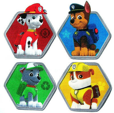 ❤️ Lot 4 Patchs Thermocollant Tissu Paw Patrol Pat Patrouille Embellissement