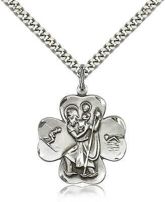 "Sterling Silver Saint Christopher Medal Catholic Necklace For Men On 24"" Chain"