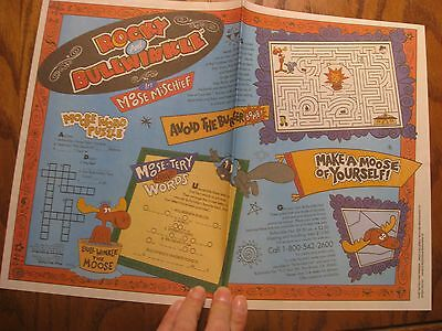 Taco Bell Placemat Trayliner - Rocky And Bullwinkle - 1991