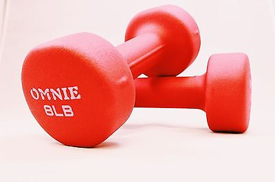 Omnie PAIR OF 8 LBS DUMBBELLS YOGA FITNESS GYM ACCESSORIES TOTAL BODY WORKOUT