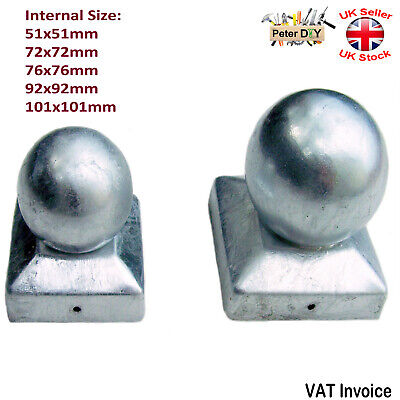 "Galvanised Square Metal Fence Gate Post Cap Caps Flange 72 or 92mm ""Ball Top"""