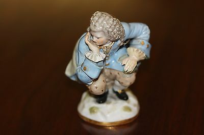Rare Antique Meissen Figurine of Man Passing Gold Coin
