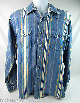 f7838f0797 VINTAGE WRANGLER WESTERN shirt size 15 1 2-34 x long tails bows and ...