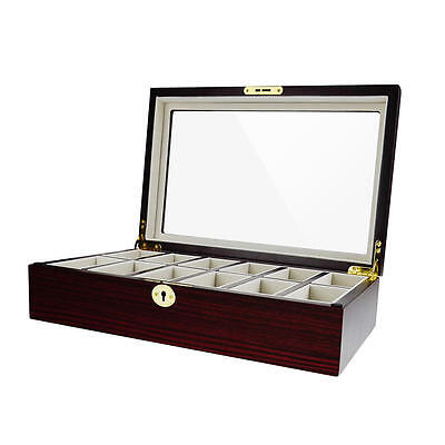 Alive Glass Top Wooden 12 Solts Watch Box Jewelry Display  Case Storage Holder