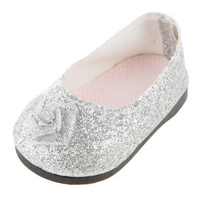 Fashion Silver Glitter Princess Shoes Fit 18 Inch American Girl Doll Clothes