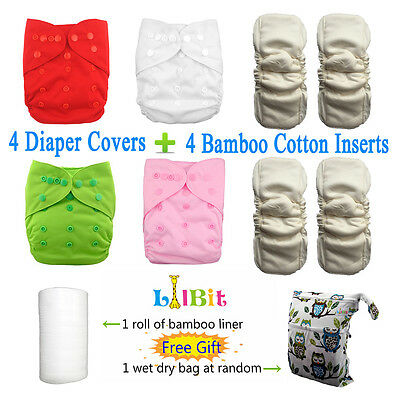LilBit 4 waterproof bamboo cotton inserts, 4 reusable baby cloth diaper covers