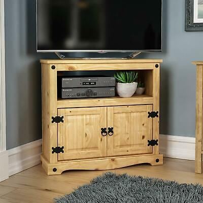 Corona Corner TV Unit Cabinet Solid Mexican Pine Furniture DVD By Home Discount