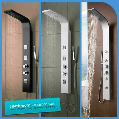 Modern Thermostatic Shower Panel Tower With Body Jets Twin Head Bathroom Shower