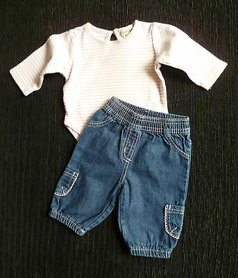 Baby clothes GIRL 0-3m outfit Tiny Ted blue+pink denim jeans.pink/white bodysuit