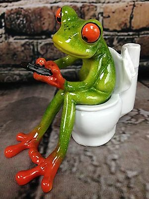 "Tree Frog Texting On Toilet In Bathroom Q-Tip Toothpick Holder 4.25"" H x 5"" L"