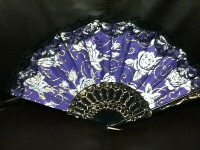 Hand Held Lace Foldable Flower Floral Fabric Fan New