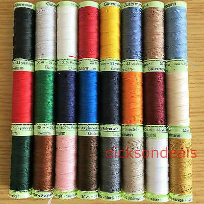 Gutermann Top Stitch Sewing Thread 30m Reels Extra Strong Polyester Jeans Button