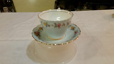 Paragon Tea Cup Blue With Roses Floral Flowers
