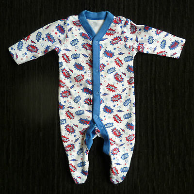 Baby clothes BOY premature/tiny 7.5lbs/3.4kg super hero white/blue/red babygrow