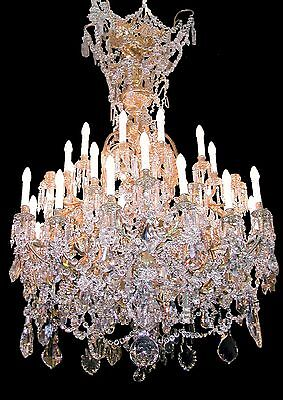 Antique 19th Century French Louis XVI Crystal & Gilt Bronze Chandelier(36Lights)