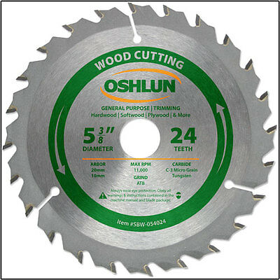 Oshlun SBW-054024 5-3/8-Inch 24 Tooth ATB General Purpose Saw Blade