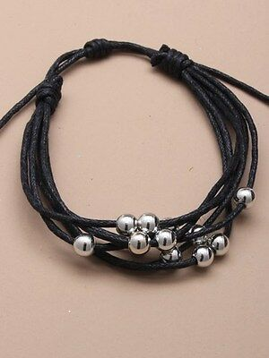 Multi Strand Cord Friendship Bracelet / Wristband with small Silver Beads (J099)