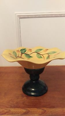 Gail Pittman COMPOTE BOWL HAND PAINTED and signed - Rare Unique Piece