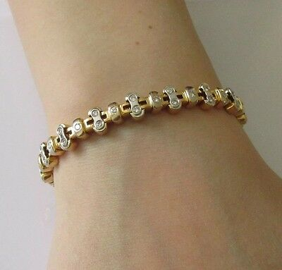 Secondhand 14ct Yellow Gold Diamond Tennis Bracelet (6 3/4inches).