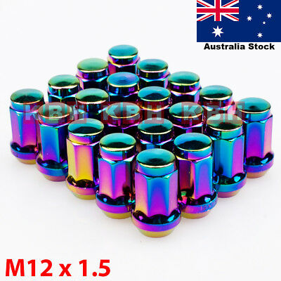 M12X1.5mm Steel Wheel Rim Racing Close End Lug Nuts Cap Socket 20pcs NEO CHROME