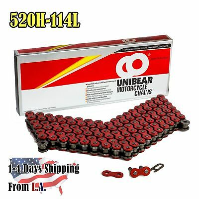 520 Red Heavy Duty Motorcycle Chain 114 Links with 1 Connecting Link