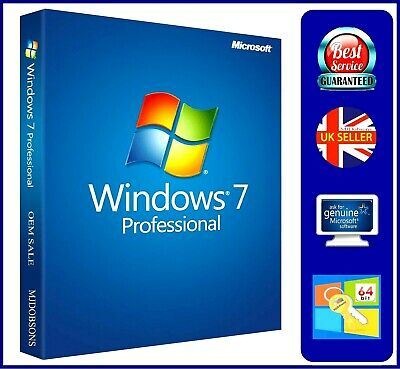 Windows 7 Professional  64-bit with Backup Disc also PRODUCT KEY LABEL