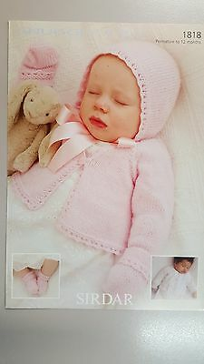 Sirdar Knitting Pattern #1818 Baby Cardigan Hat Mittens & Bootees to Knit