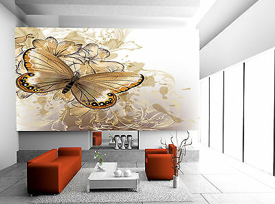 Cute Butterfly on Flower Wall Mural Photo Wallpaper GIANT DECOR Paper Poster