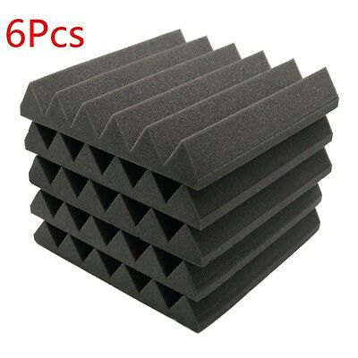 "6pcs Acoustic Soundproof Sound Stop Absorption Wedge Studio Foam 12""x 12""x2"""