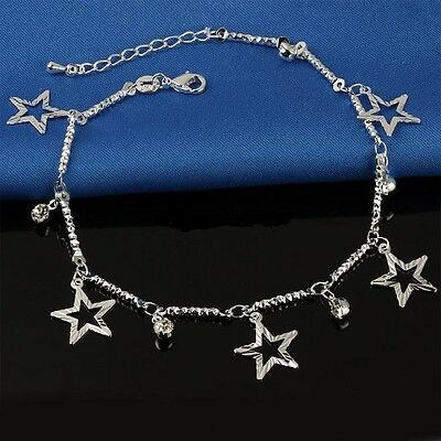 925 Sterling Silver Plated Star Ankle Bracelet Anklet UK Seller in gift bag