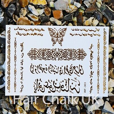 Metallic Tattoo, Gold & Silver Tattoos, Body art, Flash, Transfers, Arabic, UK