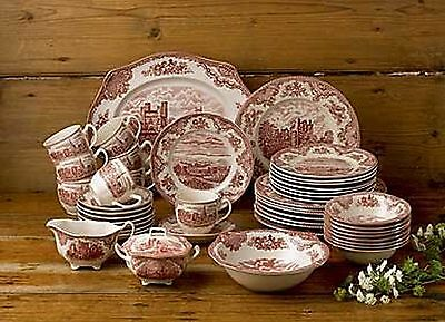 Johnson Brothers 45-Piece Old Britain Castles Dinner Set Pink