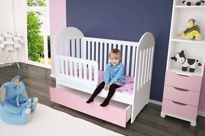 White Baby Cot Bed With Drawer Foam Mattress Converts To Junior Bed lozeczko