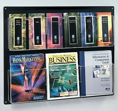"""Displays2go Wall Mounted Literature Rack 12 Pockets for 4x9 """" Pamphlets Optio..."""