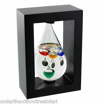 Tear drop Galileo thermometer In Wood Frame