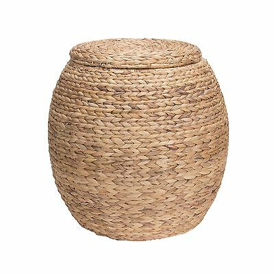 Household Essentials Large Round Water Hyacinth Wicker Storage Basket with Lid
