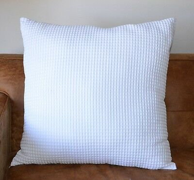 NEW 100% cotton 350gsm Large Waffle Standard Pillowcase Euro Cushion cover White