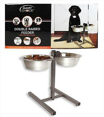 Double Pet Dog Bowls Stainless Steel Stand Adjustable Height Feeding Station New