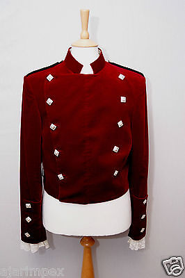 "RED 100% VELVET MONTROSE DOUBLET SCOTTISH KILT JACKET - Sizes 30""-60"""