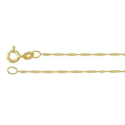 REAL 14k Yellow Gold 1mm Solid gold Singapore rope Chain Necklace