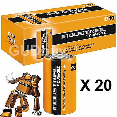 20 Duracell INDUSTRIAL D Cell Batteries Alkaline LR20 MN1300 Replaces Procell D
