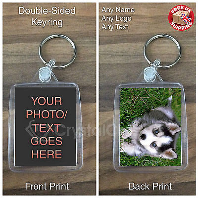 Personalised Custom Acrylic Photo Keyring Keyfob - Promotional - Double-Sided